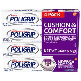 Poligrip Cushion & Comfort, Denture Fixative Cream (2.4 oz., 4 pk.)