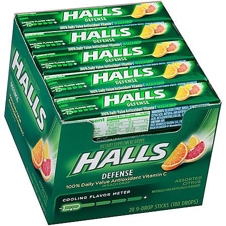 HALLS Defense Vitamin C Assorted Citrus Supplement Drops (20 sticks, 9 drops each stick)
