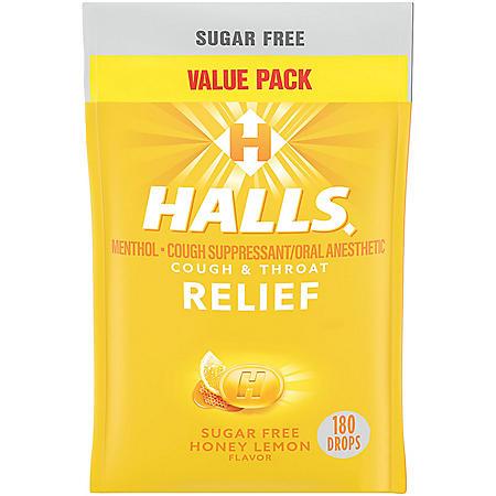 Halls Relief Honey Lemon Sugar Free Cough Drops Value Pack (180 ct.)