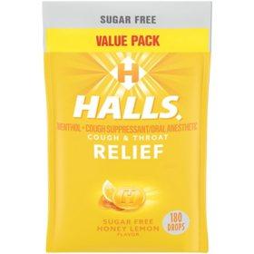 Halls Sugar-Free Cough Drops - Honey Lemon (180 ct.)