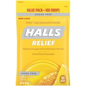 Halls Sugar-Free Cough Drops, Honey Lemon (180 ct.)