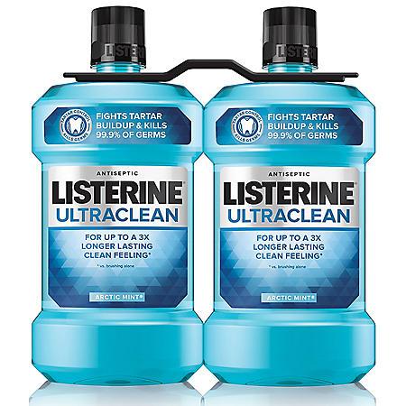 Listerine Ultraclean Arctic Mint Antiseptic Mouthwash (1.5L, 2pk.)