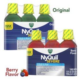 Vick's NyQuil Severe Cold & Flu Relief Liquid, Choose A Flavor-Berry or Original (12 fl. oz., 3 pk.)