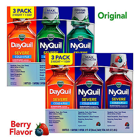 Vicks DayQuil and NyQuil SEVERE Cold & Flu Relief Liquid, Choose a Flavor (12 fl. oz., 3 pk.)