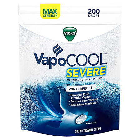 Vicks VapoCOOL SEVERE Medicated Drops, Maximum-Strength Relief to Soothe Sore Throat Pain(200 ct.)