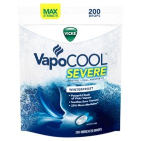 Vicks VapoCOOL SEVERE Medicated Drops, Maximum-Strength Relief to Soothe Sore Throat Pain (200 ct.)