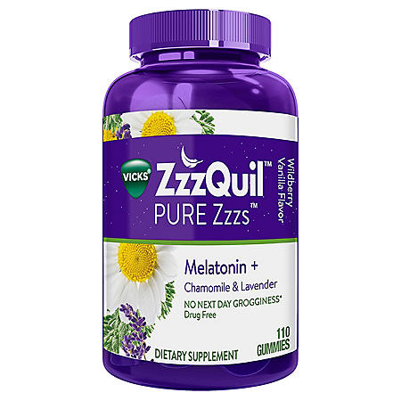 Vicks ZzzQuil PURE Zzzs Melatonin Natural Flavor Sleep Aid Gummies, 1 mg per gummy (110 ct.)