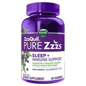 ZzzQuil PURE Zzzs Sleep and Immune Support Melatonin Sleep Aid Gummies (90 ct.)