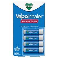 Vicks VapoInhaler, Portable Nasal Inhaler, Non-Medicated, Soothing Vapors to Breathe Easy, Menthol Scent (4 pk.)