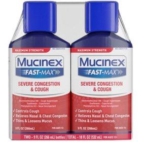Mucinex Fast-Max Severe Congestion and Cough Liquid (9 oz., 2 pk.)