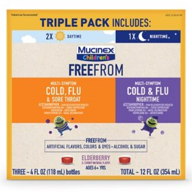 Mucinex Children's FreeFrom Multi-Symptom Cold, Flu & Sore Throat and Mucinex Children's FreeFrom Cold & Flu Nighttime Liquid with No Alcohol (4 fl. oz., 3 pk.)