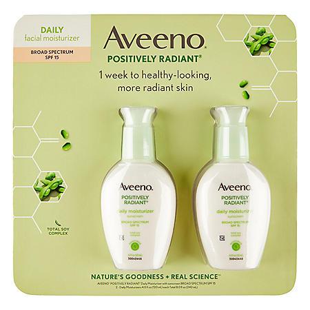 Aveeno Positively Radiant Daily Moisturizer, SPF 15 (4.0 fl. oz., 2 pk.)