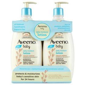 Aveeno Baby Daily Moisture Lotion, Fragrance Free (18 fl. oz., 2 pk.)