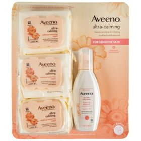 Aveeno Ultra-Calming Foaming Cleanser and Makeup Remover for Dry, Sensitive Skin with Aveeno Ultra-Calming Cleansing Oil-Free Makeup Removing Wipes