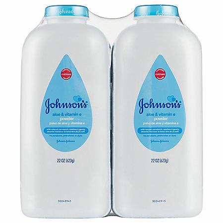 Johnson's Baby Powder Aloe and Vitamin E (22 oz., 2 pk.)