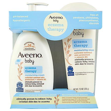 Aveeno Baby Eczema Therapy Moisturizing Cream with Natural Oatmeal (1- 7.3 oz. and 1- 12 fl. oz.)