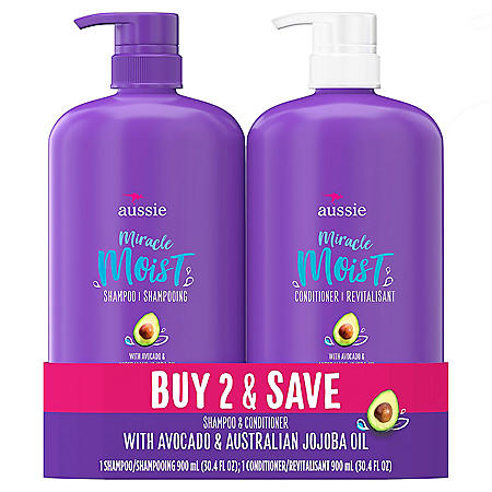 Aussie Miracle Moist Paraben Free Shampoo and Conditioner (30.4 fl. oz. each)