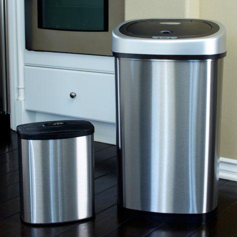 Nine Stars Sensor Trash Can Set - Stainless Steel - 13.2 gal. / 2.1 gal.