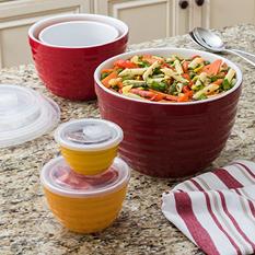 10-Piece Lidded Ceramic Bowl Set (Assorted Colors)