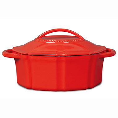 Isaac Mizrahi 6 qt Cast Iron Dutch Oven with Lid - Red