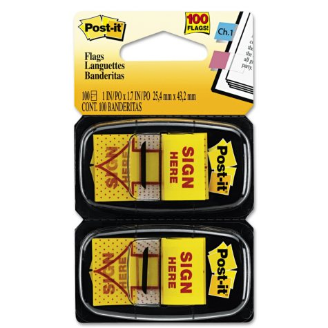 """Post-it Flags - Arrow Message 1"""" Flags - """"Sign Here"""" - Yellow - 2 50-Flag Dispensers/Pack"""