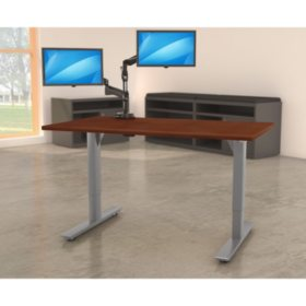 """Lorell Quadro 46"""" x 72""""  Electric Height-Adjustable Table with Silver Base, Mahogany"""