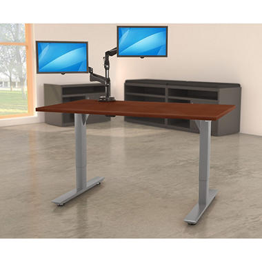 """Lorell Quadro 46"""" x 60""""  Electric Height-Adjustable Table with Silver Base, Select Color"""