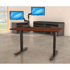"""Lorell Quadro 46"""" x 60""""  Electric Height-Adjustable Table with Black Base, Select Color"""