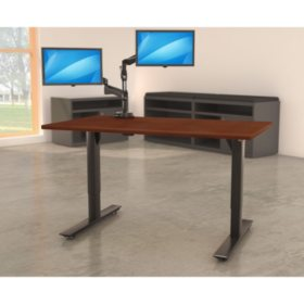 """Lorell Quadro 46"""" x 72""""  Electric Height-Adjustable Table with Black Base, Mahogany"""