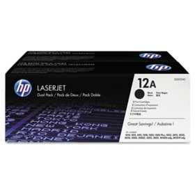 HP 12A Original Laser Jet Black Toner Cartridge, 2,000 Page Yield - 2 Pack