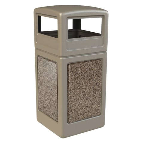 Commercial Zone StoneTec Waste Container with Dome Lid, 42-gal, Polyethylene, Beige with Riverstone Panels