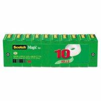 """Scotch Magic Tape Value Pack, 1"""" Core, 0.75"""" x 83.33 ft, Clear, 10/Pack"""