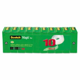 "Scotch Magic Tape Value Pack, 1"" Core, 0.75"" x 83.33 ft, Clear, 10/Pack"