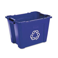 Rubbermaid Stacking Recycle Bin - Blue - 14 gal.