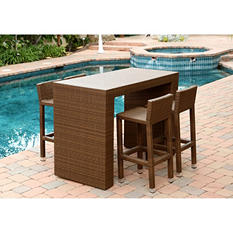 Havana Outdoor Wicker 5-Piece Dining Bar Set, Brown