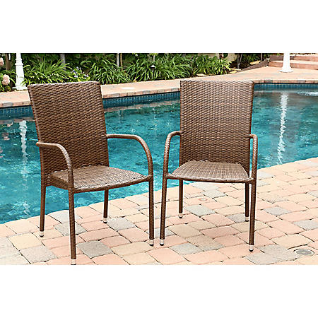 Newport Outdoor Wicker Dining Arm Chairs - Set of 2, Brown
