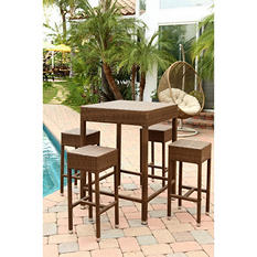 Bahama Outdoor Wicker 5-Piece Dining Bar Set, Brown