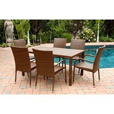 Newport Outdoor Wicker 7-Piece Dining Set, Brown