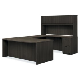 "basyx 72"" BL Laminate Series Rectangle Top U-Workstation with Stack-on Storage, Espresso"
