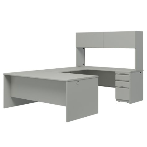 "Hon 38000 Series 72"" Steel U-Workstation with Stack-on Storage, Light Gray"