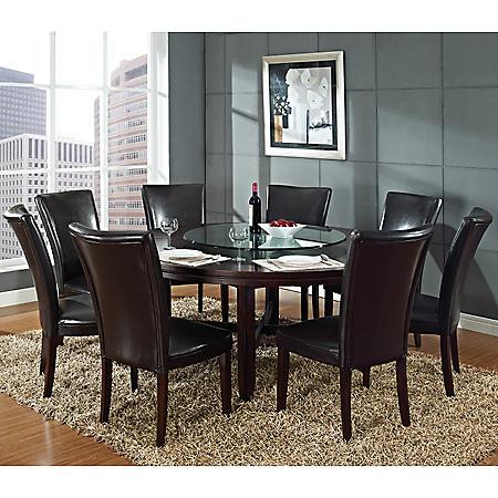 Brilliant Harding 72 Round Dining Set 9 Pc Dark Brown Leather Chairs Download Free Architecture Designs Sospemadebymaigaardcom