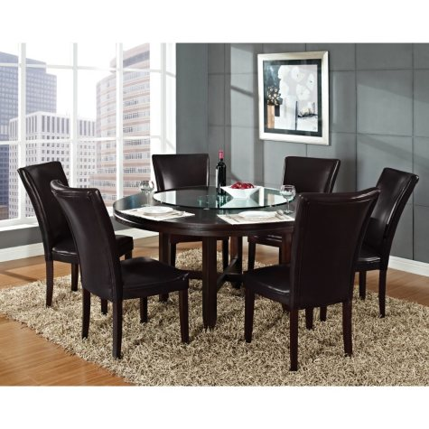 "Harding 62"" Round Dining Set - 7 pc. -  Dark Brown Leather Chairs"