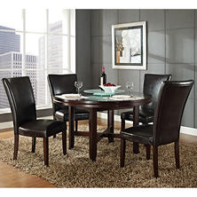 "Harding 52"" Round Dining Set - 5 pc. - Dark Brown Leather Chairs"