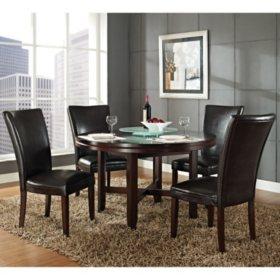 "Harding 52"" Round Dining Set - 5 pc. - Dark Brown Leather Chairs"