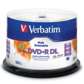 Verbatim DVD+R DL 8.5GB 8X White Inkjet Hub Printable, 50pk Spindle