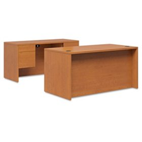 Hon 10500 Series 72' Desk & Credenza Workstation, Harvest