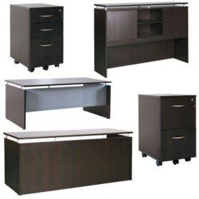 "Alera SedinaAG Series 72"" Desk & Credenza with Stack-on Storage, Select Color"