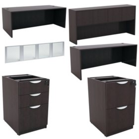 "Alera Valencia Series 72"" Desk & Credenza Workstation with Stack-on Storage, Select Color"