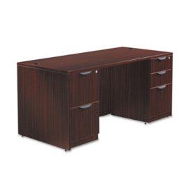 "Alera Valencia Series 66"" Desk with Full Pedestals, Select Color"
