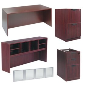 "Alera Valencia Series 72"" Desk & Credenza Workstation with Stack-on Storage, Select Color"